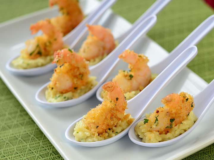 golden shrimp risotto appetizer