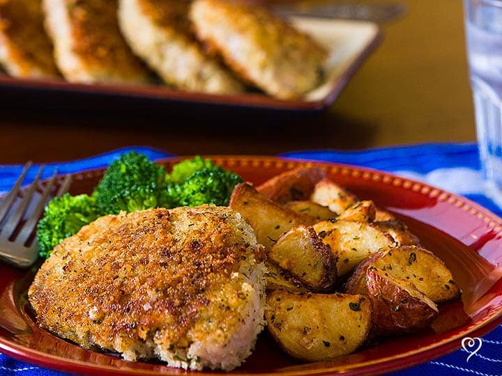 Parmesan Crusted Pork Chops with Creamy Herbed Peas