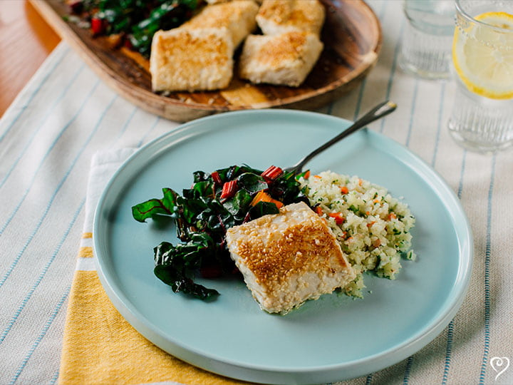 Sesame Crusted Mahi Mahi with Soy Ginger Butter over Rice