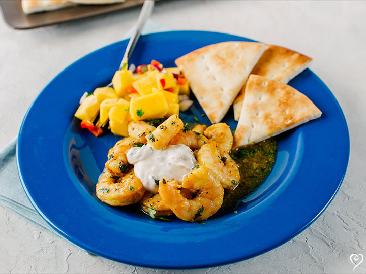 Curry Chutney Shrimp with Pita Bread