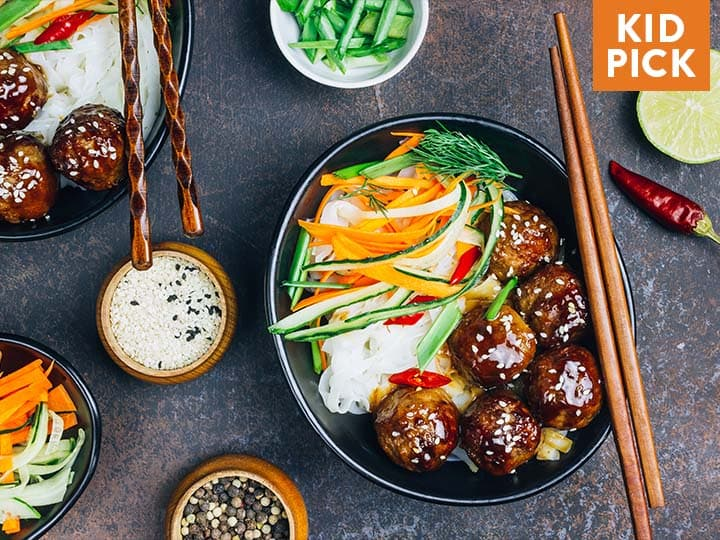 Sticky Ginger Turkey Meatballs over Fried Rice
