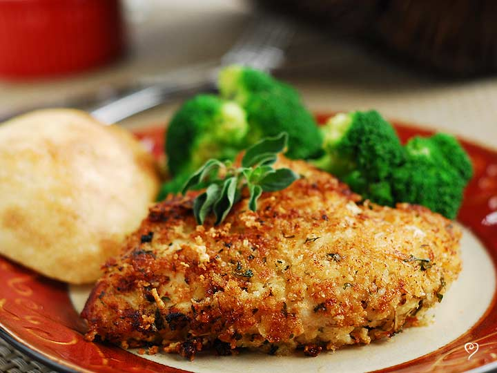 Parmesan Herb Crusted Chicken with Oven Roasted Broccoli