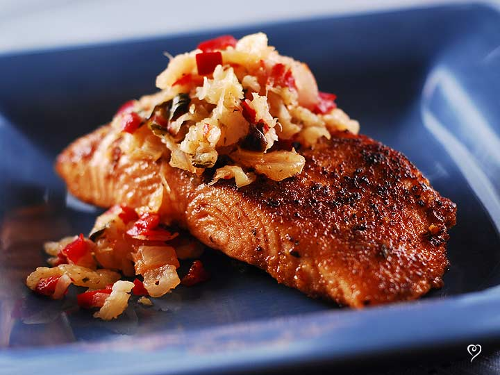 Blackened Salmon with Pineapple Salsa