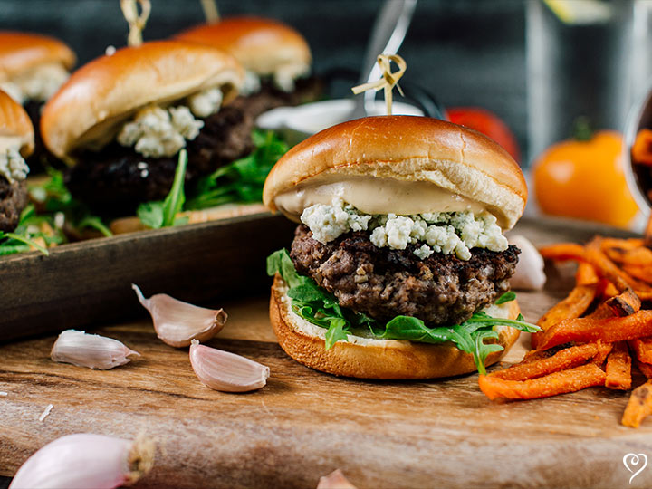 Gorgonzola Cheese Burgers with Seasoned Steak Fries