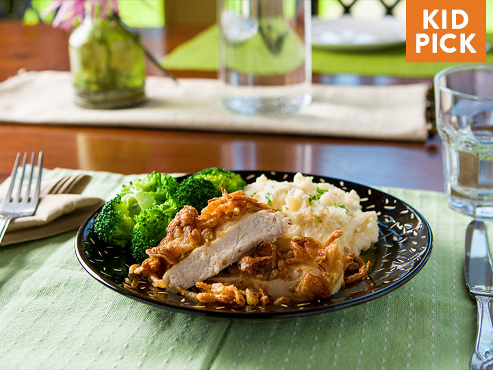 Crispy French Onion Chicken with Oven Roasted Broccoli