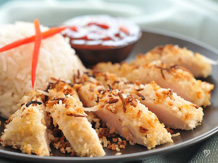 Crispy Coconut Chicken with Sweet & Sour Dipping Sauce