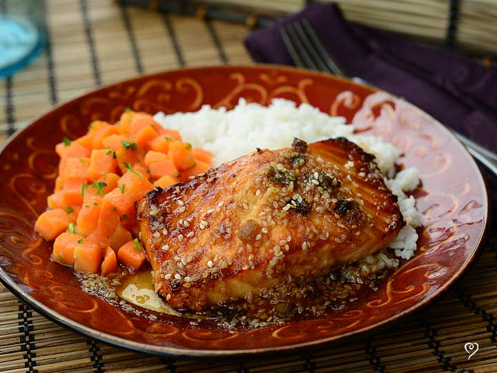 Sesame Ginger Salmon with Sweet Gingered Carrots