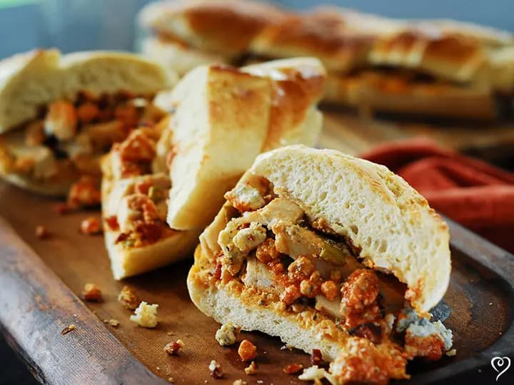 Buffalo Chicken Stuffed French Bread