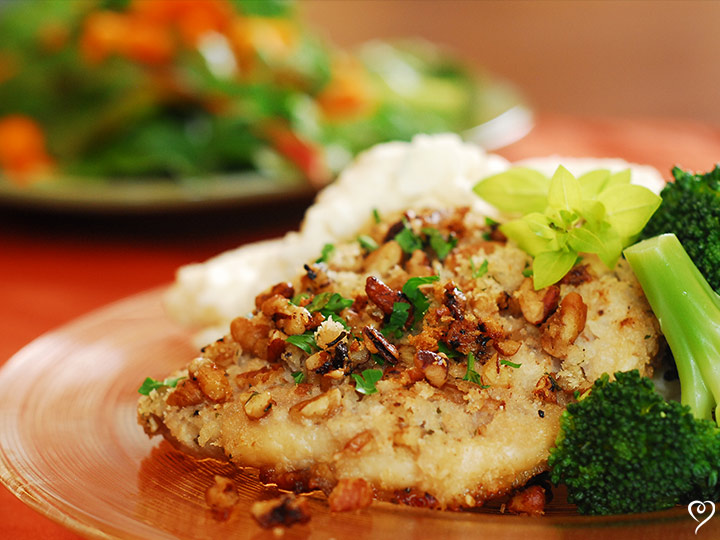 Pecan Crusted Pork Chops with Buttery Peas with Bacon