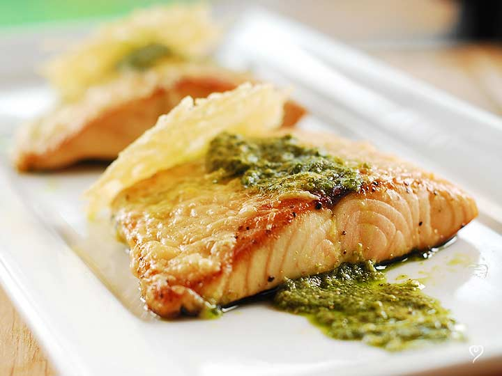 Parmesan Pesto Salmon with Cheese Crisps