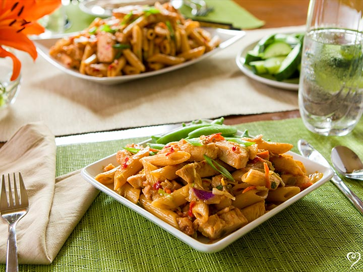 Penne with Chicken and Peanut Sauce