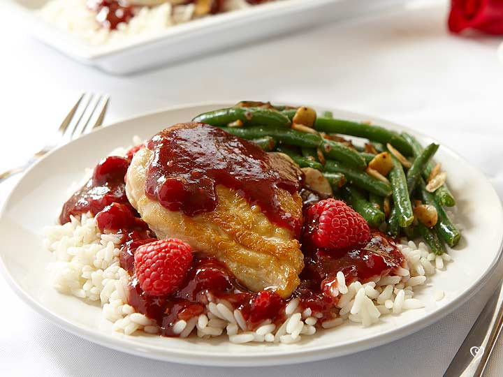 Choice Cut Raspberry XOXO Chicken over Rice
