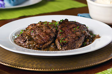 STEAKS WITH SWEET BOURBON MUSHROOM SAUCE