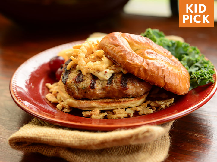 French Onion Turkey Burgers on Pretzel Buns