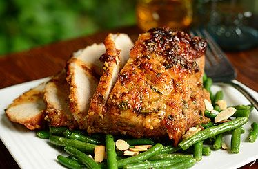 Honey Chipotle Pork Roast with Almond Green Beans