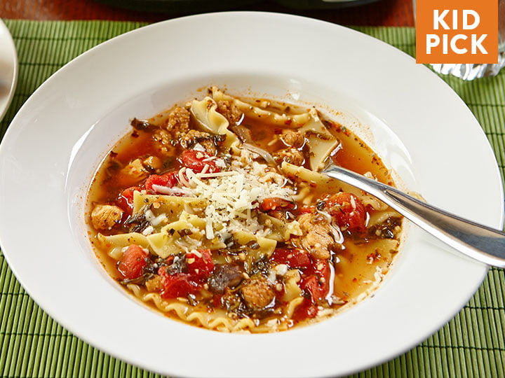 Slow Cooked Lasagna Soup with Parmesan Mini Bread Sticks