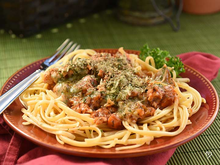 Chicken Bolognese over Linguine
