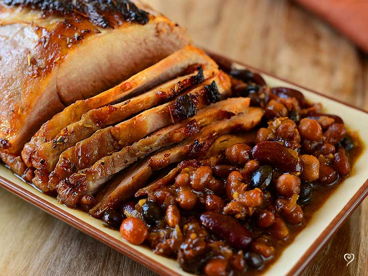 Maple Pork Tenderloin with Bountiful Baked Beans