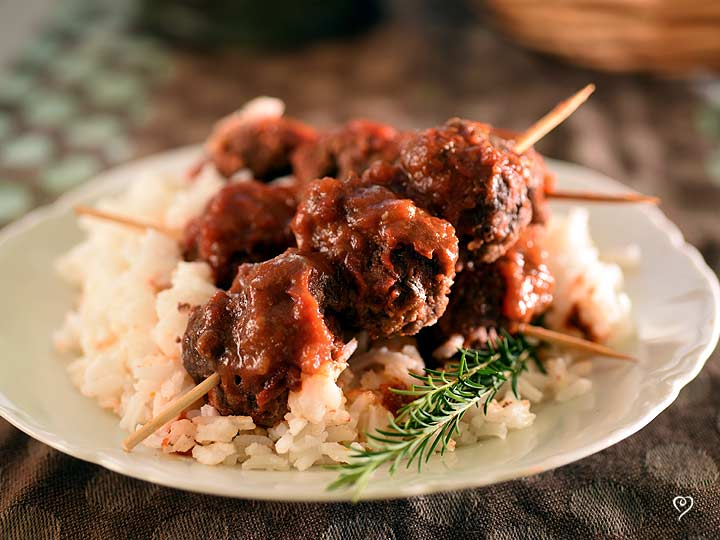 Moroccan Meatball Skewers on Jasmine Rice