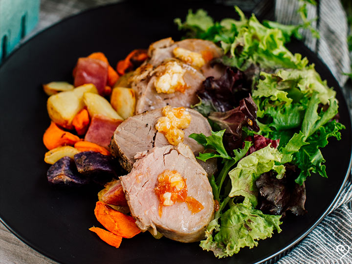 Pork Tenderloin with Apricot Butter and Roasted Heirloom Potatoes