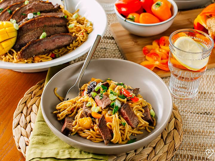 Glazed Flank Steak Yakisoba Noodle Bowl