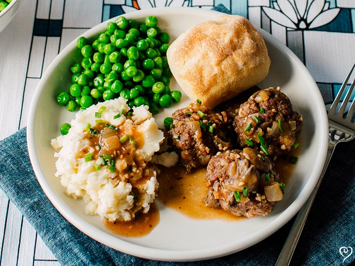 Salisbury Meatballs with Mushroom Gravy and Mashed Potatoes