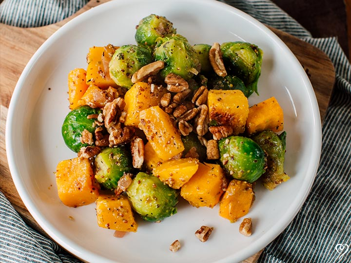 Roasted Sweet Potatoes and Brussels Sprouts in Warm Dressing